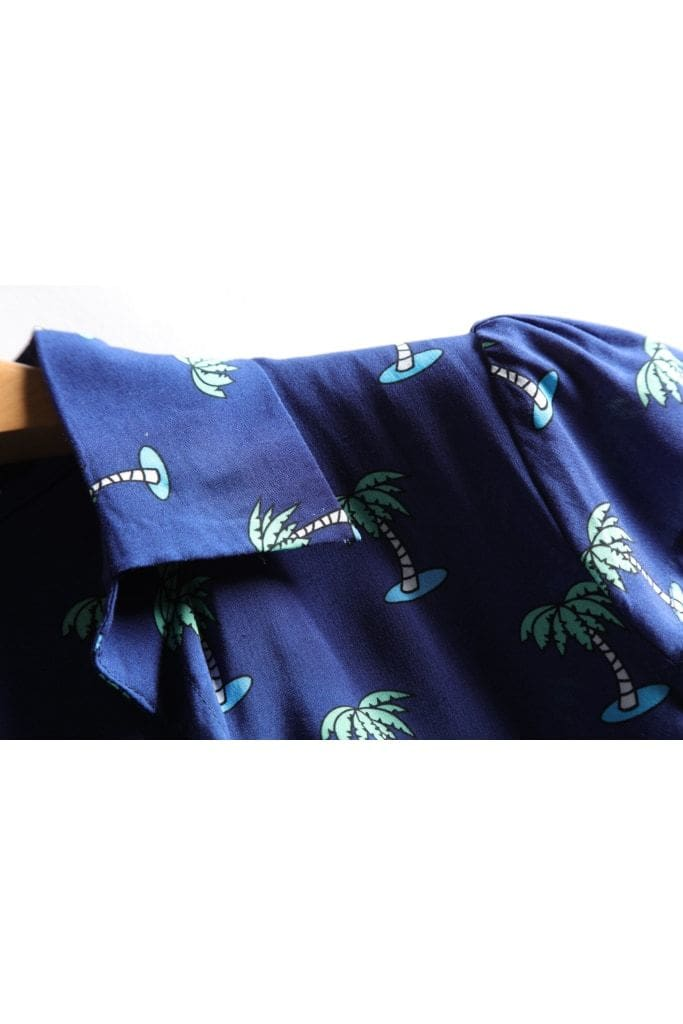 Navy V Neck Palm Tree Collared Dress with Box Pleats and Pockets