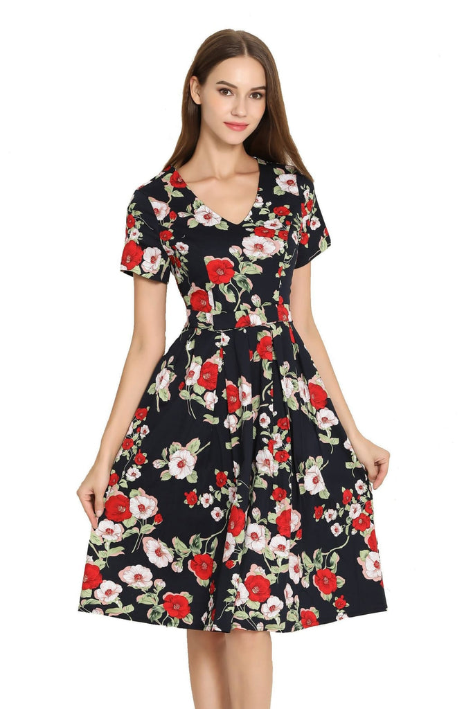 Navy with Red & Pink Peony Bow Tie V Neck Pleated A Line Dress with Sleeves