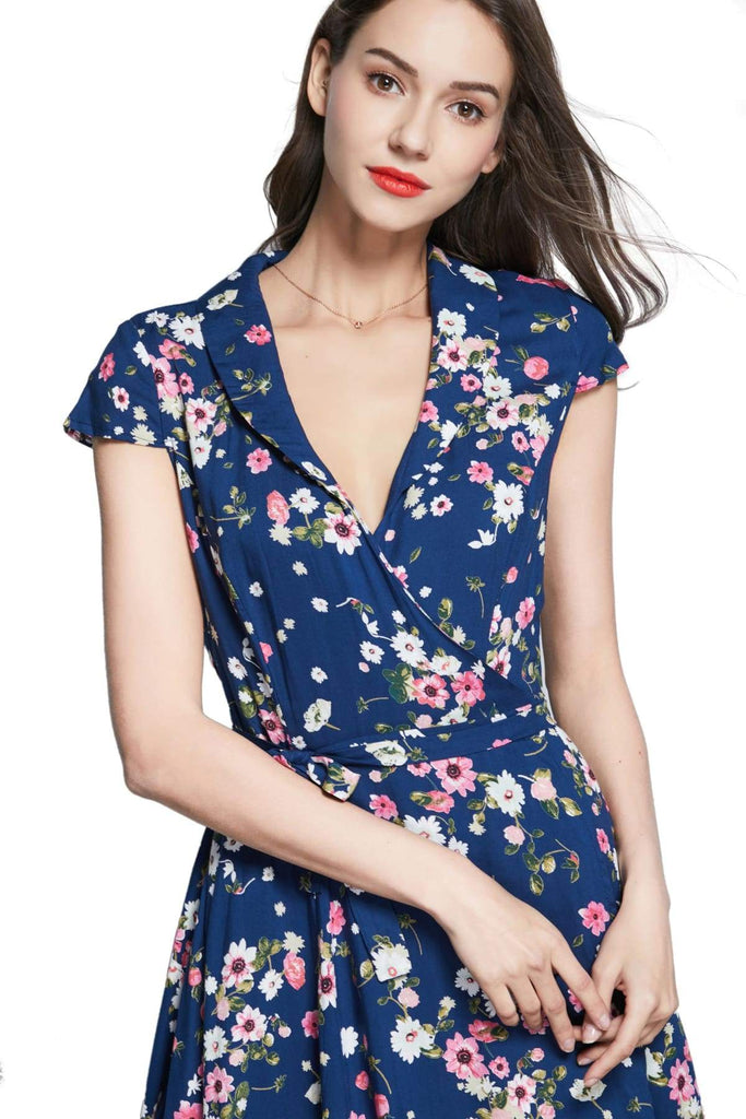 Navy Shawl Collared Wrap Dress with Pink Anemone and White Daisy Flowers and Pockets Vintage Dress Australia 9352589012556
