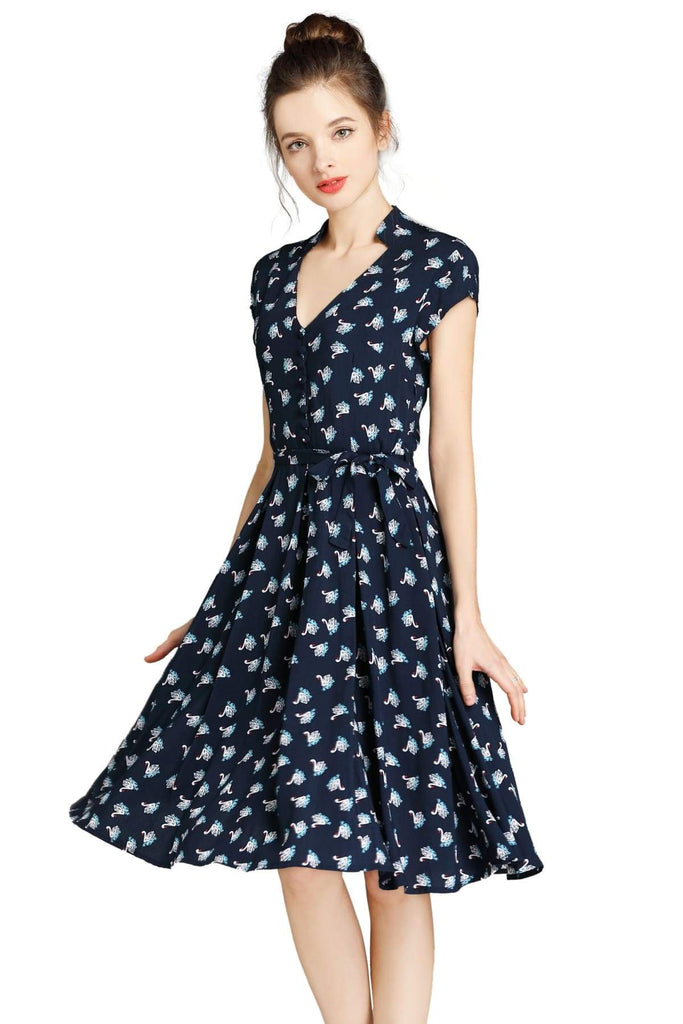 Navy Standing Collar V Neck Floating Swan Pleated Dress with Pockets