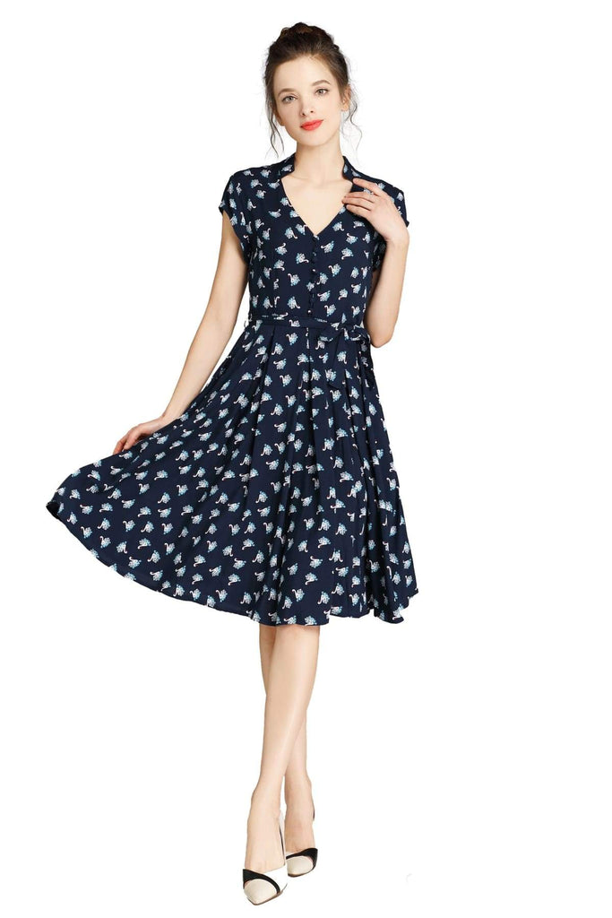 Navy Standing Collar V Neck Floating Swan Pleated Dress with Pockets Vintage Dress Australia 9352589011757