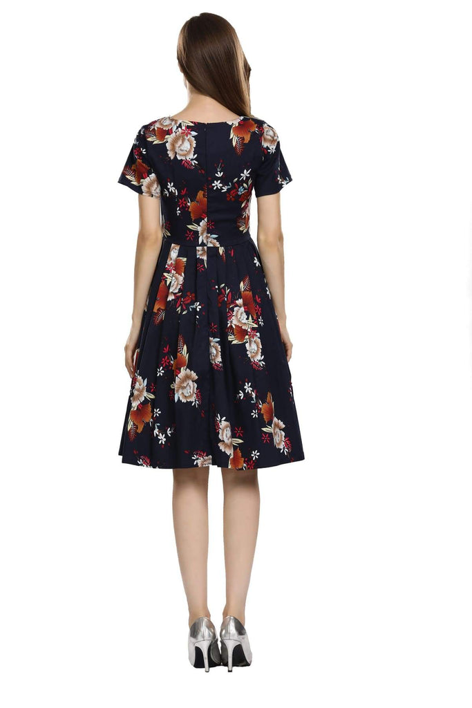 Navy with White Peony Sweetheart Pleated A-Line Dress with Fuchsia and White Daisy Short Sleeve Vintage Dress Vintage Dress Australia