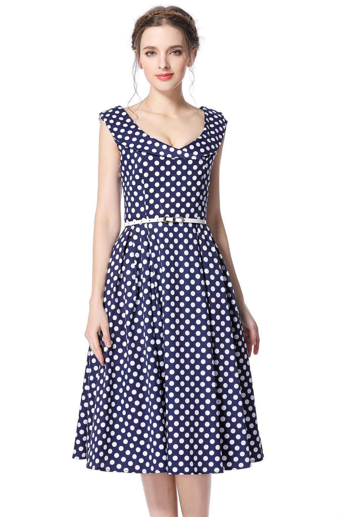 Navy & White Polka Dot Cross Neck Vintage Swing Dress Vintage Dress Australia 9352589002540