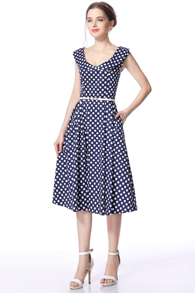 Navy & White Polka Dot Cross Neck Vintage Swing Dress Vintage Dress Australia 9352589002533