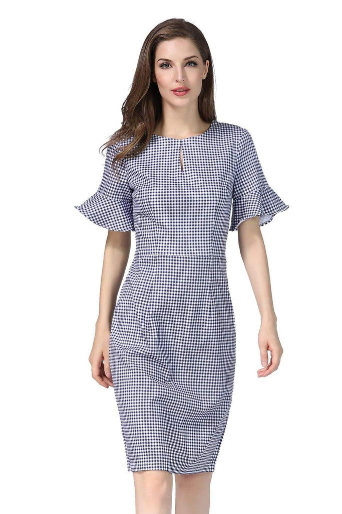 Navy and White Tartan Top Slit Detail with Bell Sleeve Pencil Dress Vintage Dress Australia 9352589008290