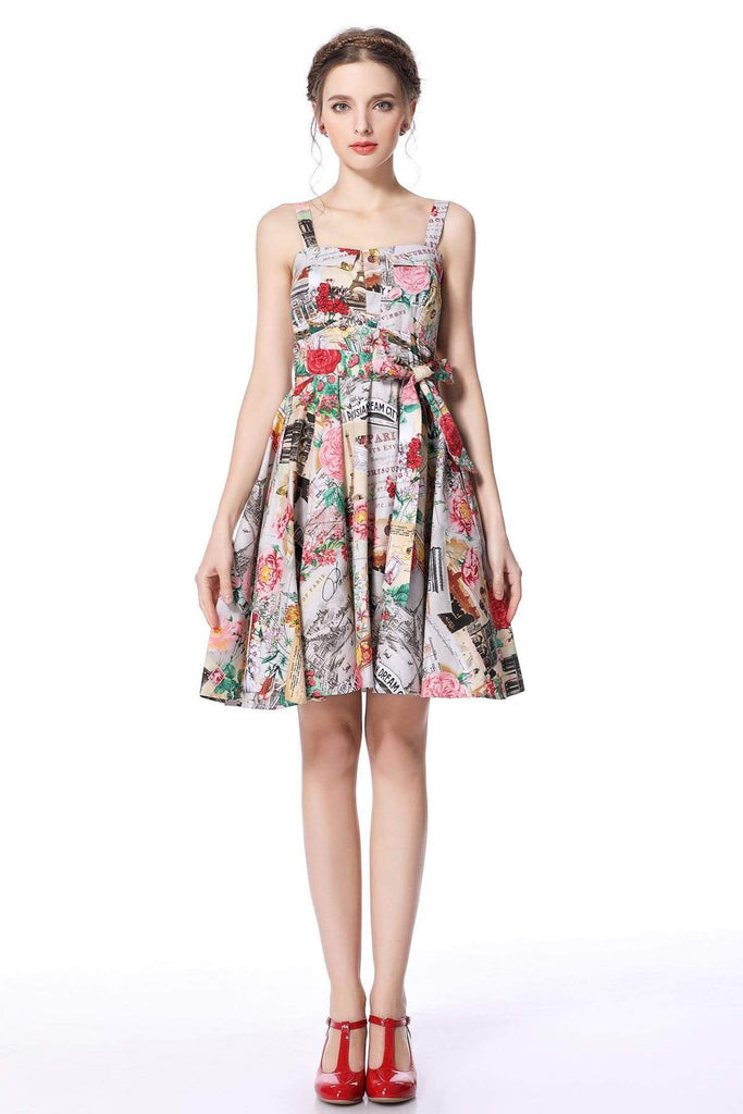 Paris Print Strap Dress with Pockets