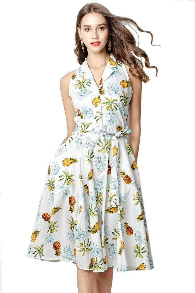 Pineapple and Palm White Halter Top Vintage Dress Vintage Dress Australia 9352589005374