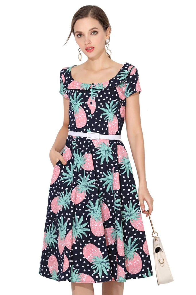 Pink & Mint Pineapple Peter Pan Scoop Neck Vintage Dress