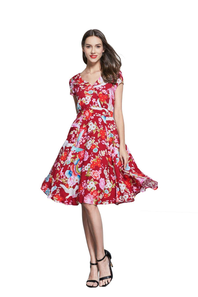 Red V Neck Cross Over Dress with Gorgeous Rainbow Birds and Coloured Daisy Peony with Pockets
