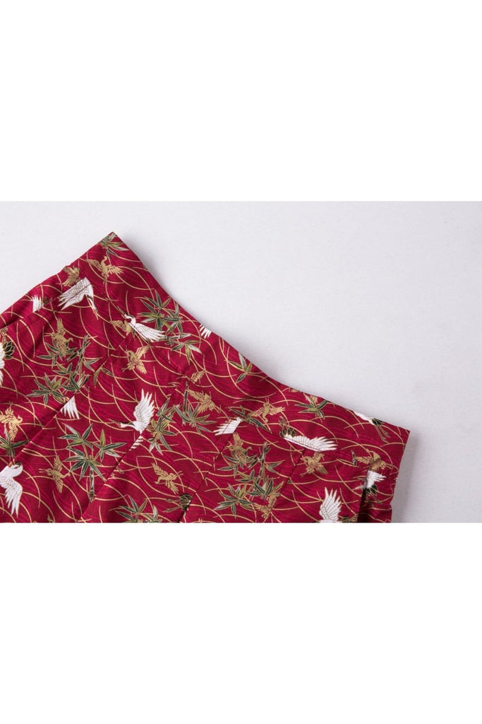 Red with White Japanese Cranes A Line Skirt