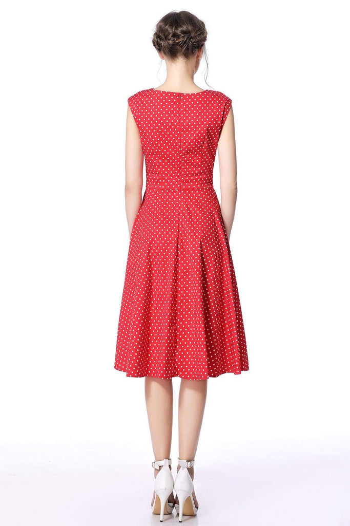 Red & White Polka Dot Scoop Neck Vintage Swing Dress Vintage Dress Australia 9352589004247