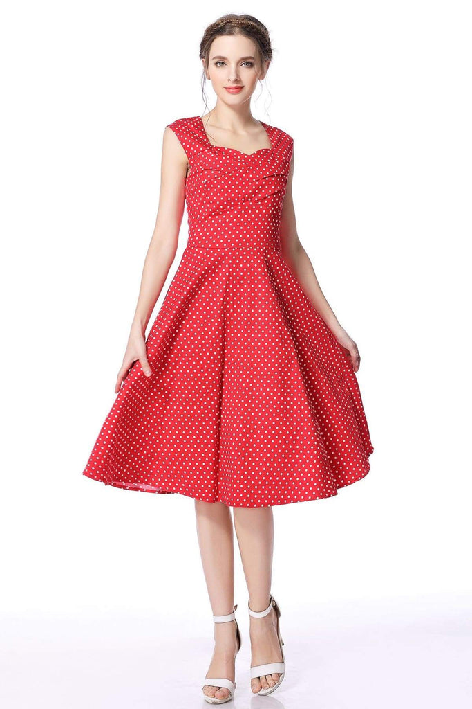 Red & White Polka Dot Scoop Neck Vintage Swing Dress