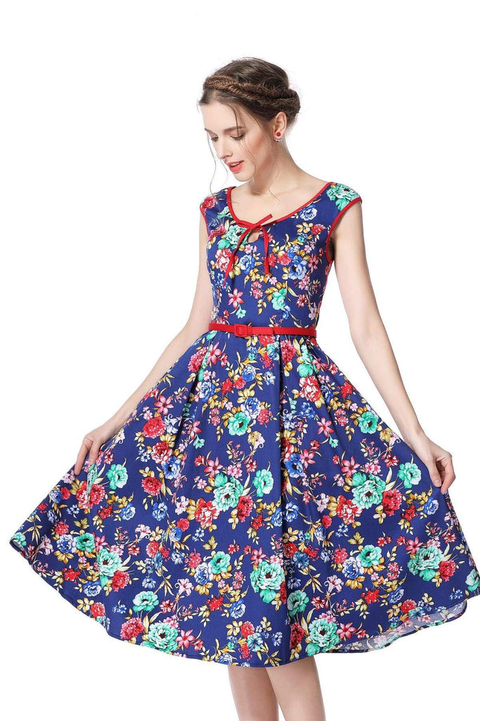 Royal Blue Flower Scoop Neck Bow Tie Vintage Swing Dress Vintage Dress Australia 9352589003509