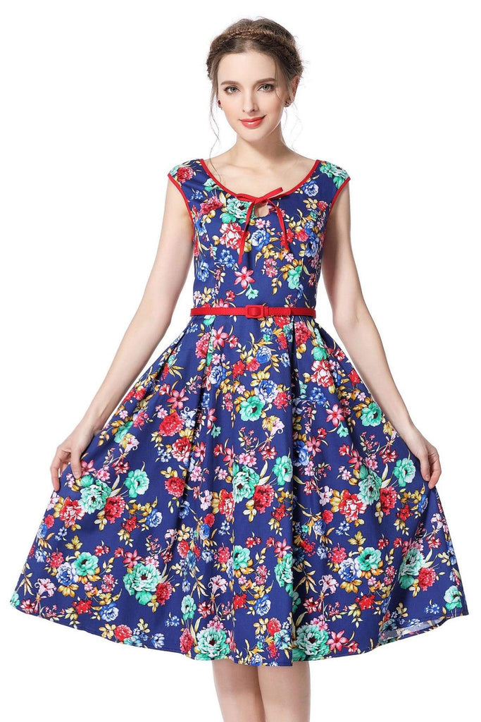 Royal Blue Flower Scoop Neck Bow Tie Vintage Swing Dress Vintage Dress Australia 9352589003493