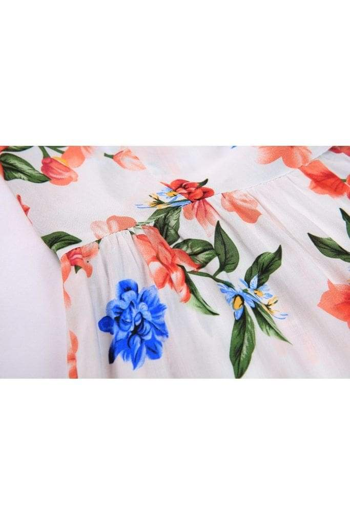 Soft White with Red and Blue Flower Ruffle Sleeve Wrap Top Vintage Dress Australia 9352589011450