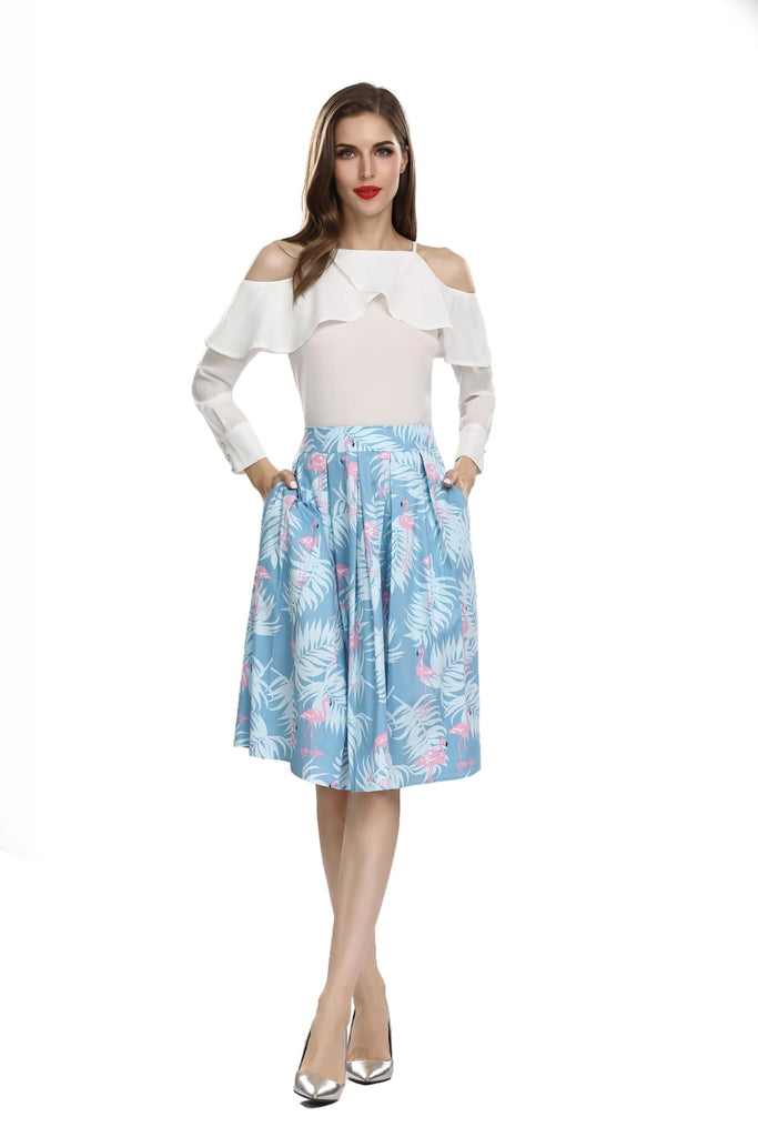 Summer Blue Box Pleated Palm Skirt with Pink Flamingo and Pockets Vintage Dress Australia 9352589010286