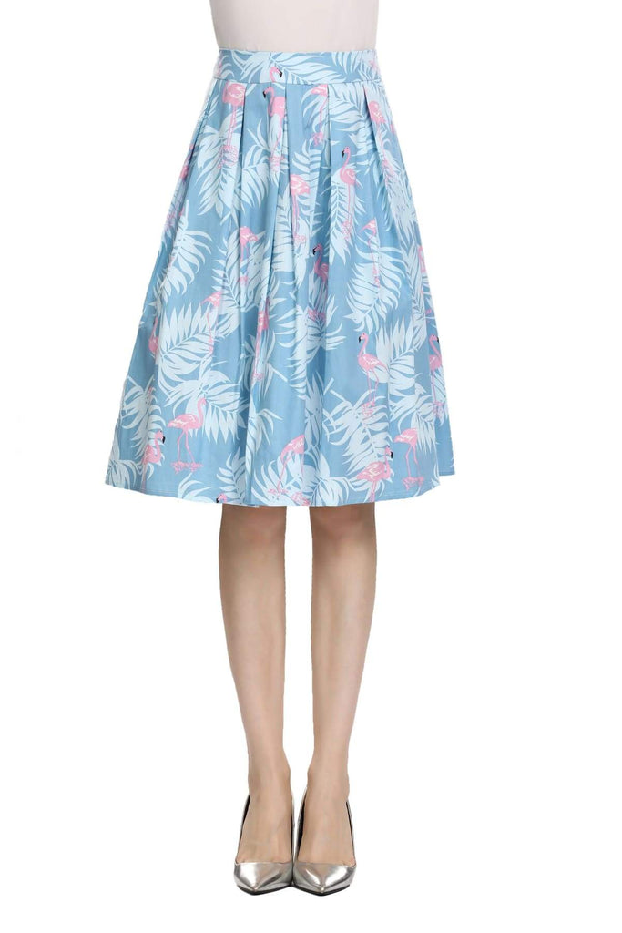 Summer Blue Box Pleated Palm Skirt with Pink Flamingo and Pockets