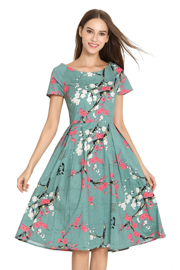 Turquoise Green with Pink & White Blossom Scoop Neck Vintage Dress with Sleeves