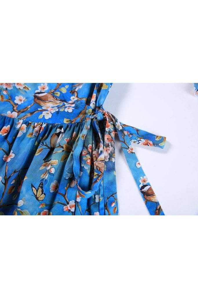 Watercolour Blue with Cherry Blossom and Bird Ruffle Sleeve Wrap Top Vintage Dress Australia 9352589011528