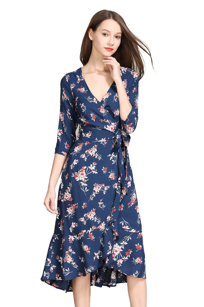 Whimsical Navy Pink Bouquet Ruffle Wrap Dress