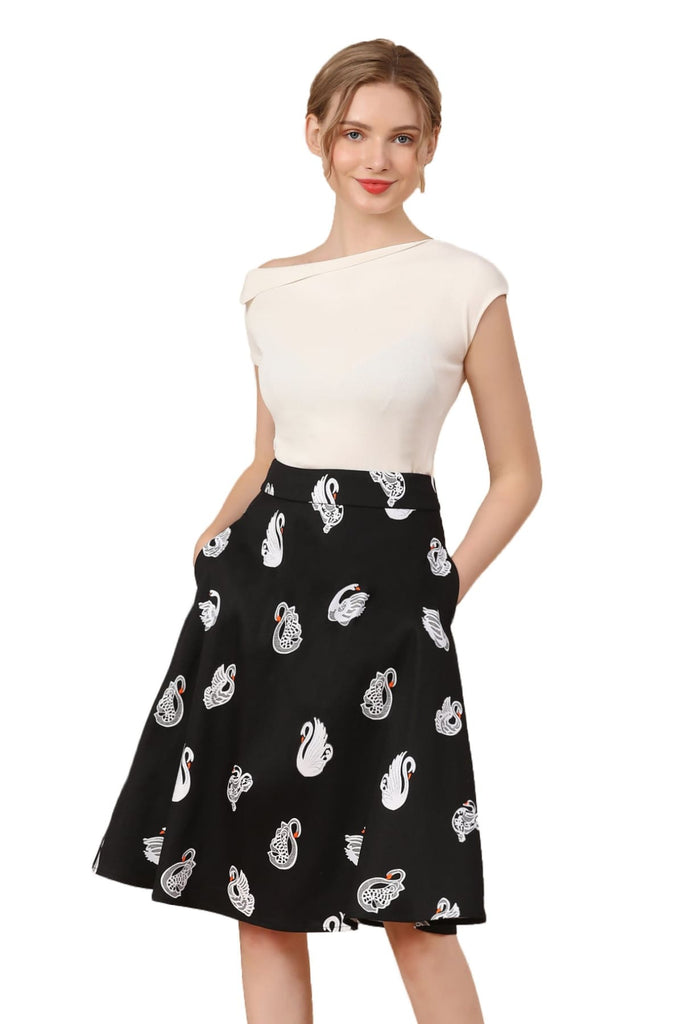 White Swan on Black Cotton A-Line Skirt with Pockets Vintage Dress Australia 9352589013966