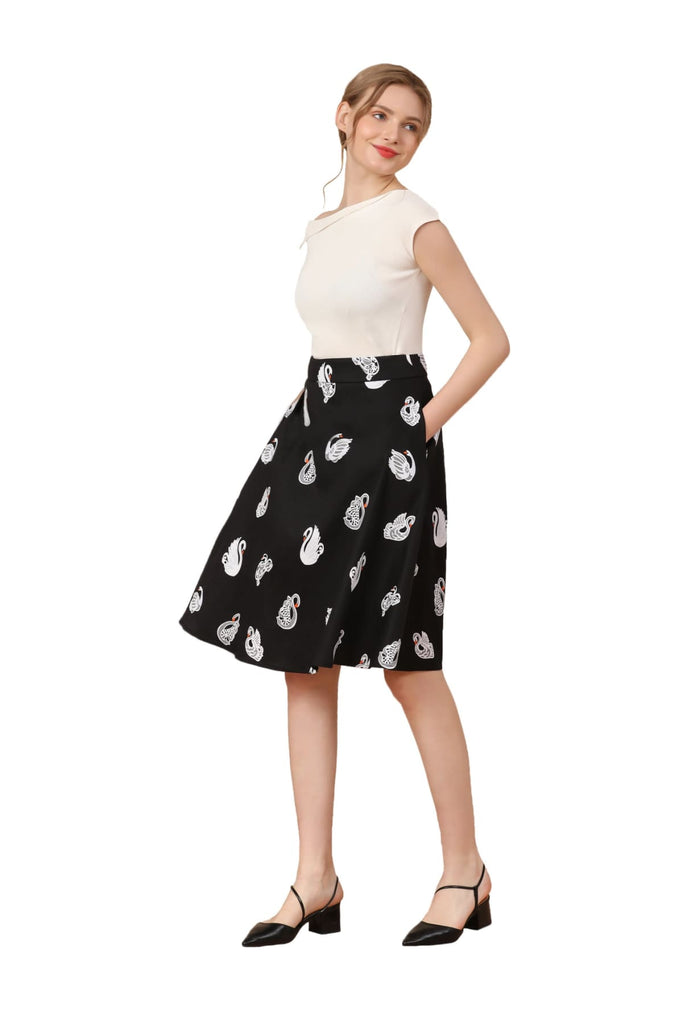White Swan on Black Cotton A Line Skirt with Pockets