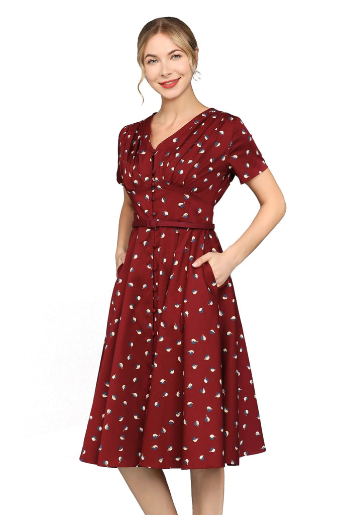Wine Red with White & Blue Leaf Painted V Neck Button Front A Line Short Sleeve Cotton Dress with Pockets
