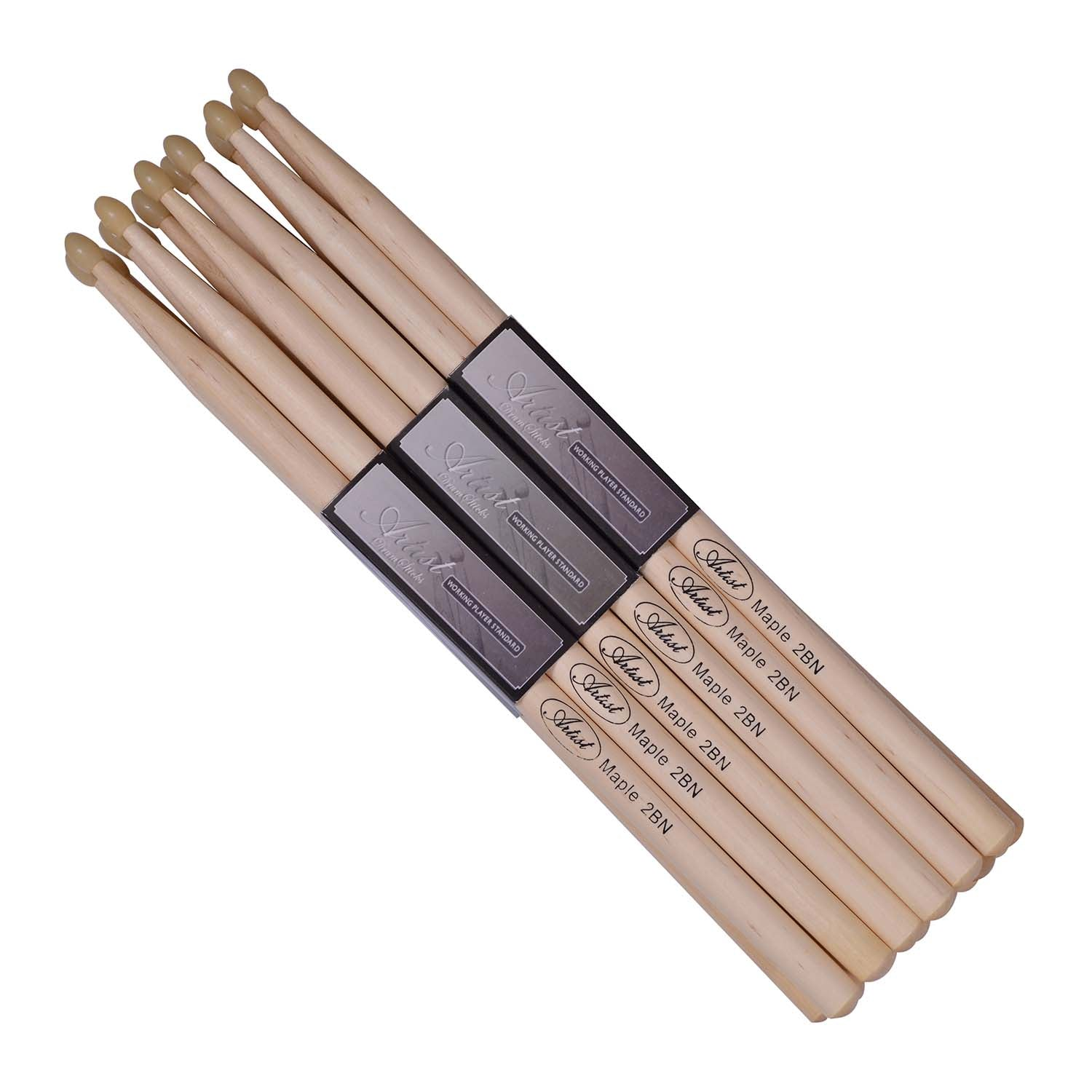 Artist DSM2BN 12 Pairs of Maple Drumsticks with Nylon Tips