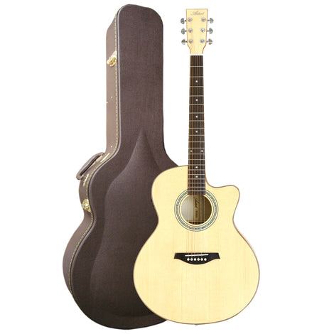 Artist JB300NT+C Solid Top Jumbo Electro-Acoustic Guitar Cutaway+Case