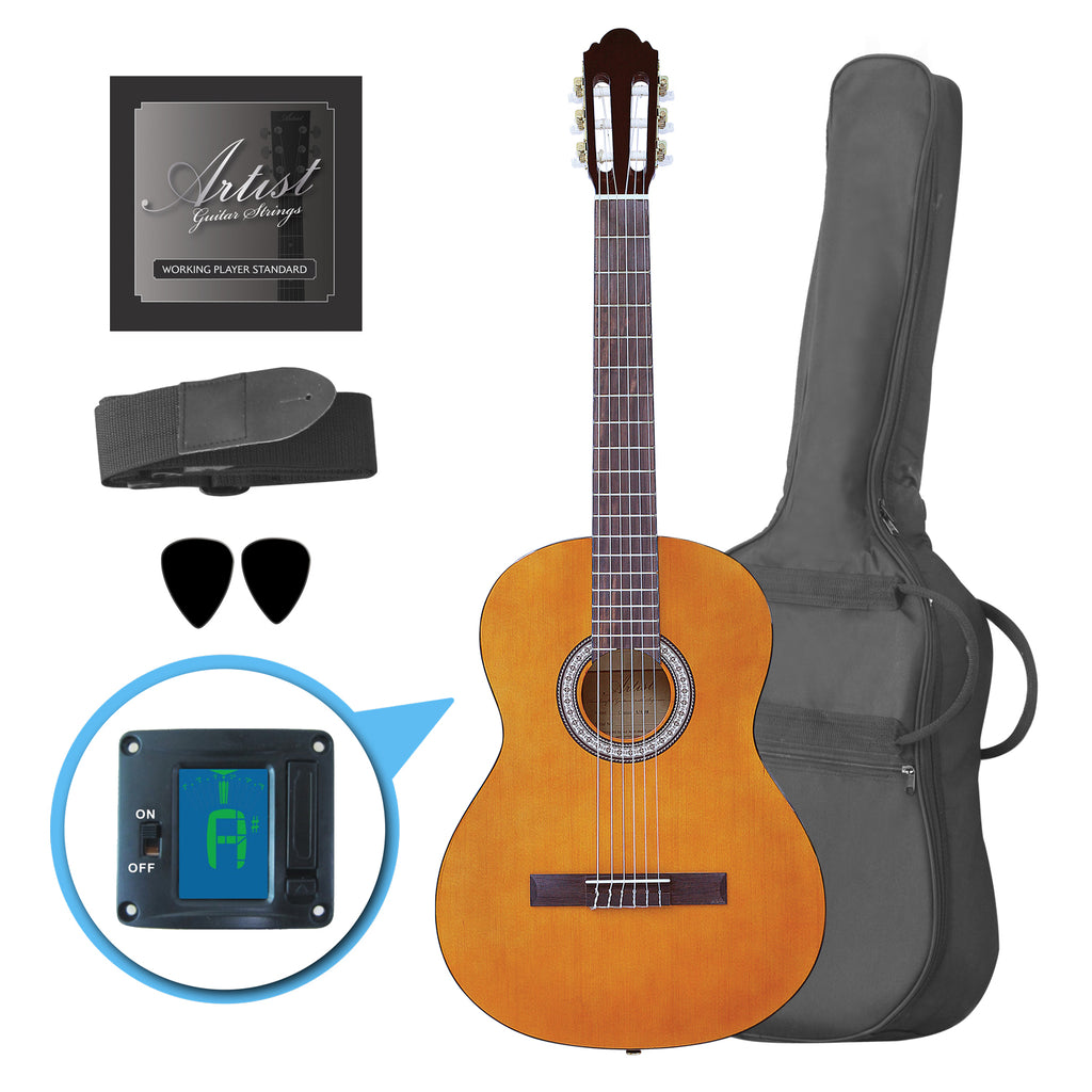 Artist CL44AM Full Size Classical Nylon String Guitar Pack 39 - Amber