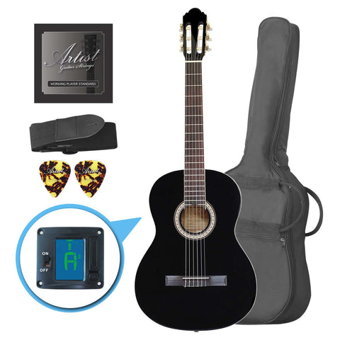 Artist CL44BK Full Size Classical Nylon String Guitar Pack 39 - Black