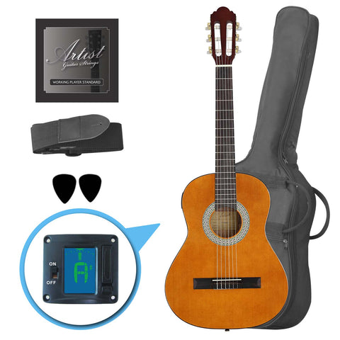 Artist CL34AM 3/4 Size Classical Guitar Pack, Nylon String - Amber
