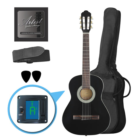 Artist CL34BK 3/4 Size Classical Guitar Pack, Nylon String - Black