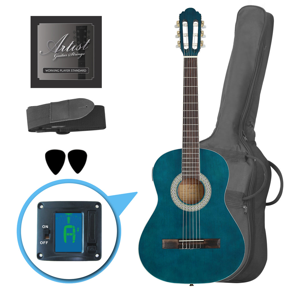 ee9084f574c Artist CL34TBB 3/4 Size Classical Guitar Pack, Nylon String - Blue ...