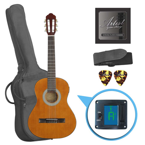 Artist CL34AML Left Handed 3/4 Classical Nylon String Guitar Pack