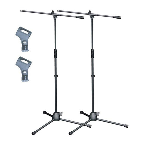 Artist MS017 2 pack - Budget Black Boom Mic Stand + Mic Clips