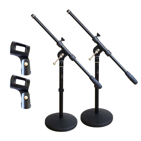 Artist MS023+44 2 Pack Small Black Boom Mic Stand + Rubber Mic Clips
