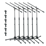 Artist MS012x6 Deluxe Black Boom Mic Stand + Rubber Mic Clips- 6 Pack