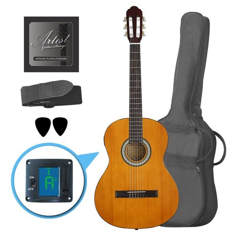 Artist CL44SPKAM Full Size Classical Guitar Pack, Nylon, Slim Neck