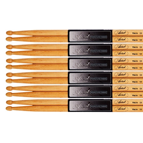 Artist DSM5B 6 Pairs of Maple 5B Drum Sticks With Wooden Tips