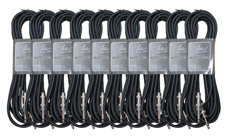 Artist GS20 20ft (6m) Guitar Cable/Lead - 10 Pack