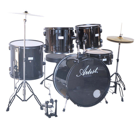 Artist ADR522 5-Piece Drum Kit + Cymbals and Stool - Black