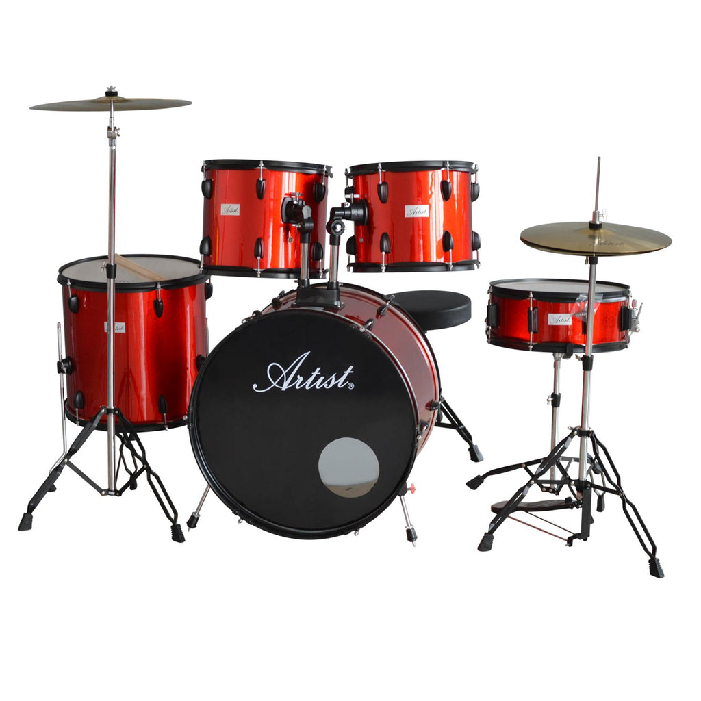 Artist ADR522 5-Piece Drum Kit + Cymbals and Stool - Red