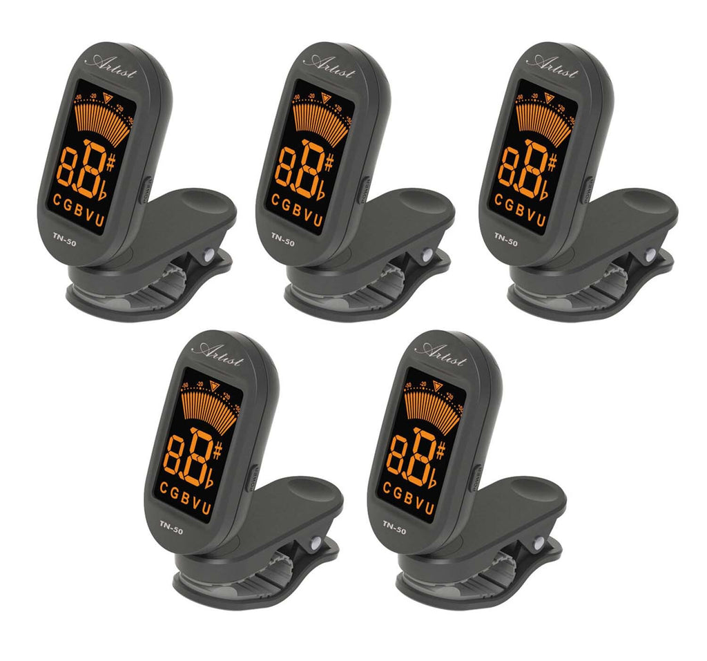 Artist TN50 Chromatic Clip on Guitar Digital Tuner - 5 Pack