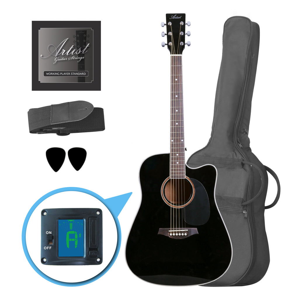 Artist LSPCBK Beginner Acoustic Guitar Pack With Cutaway - Black