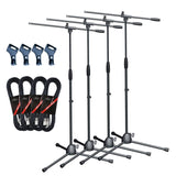 Artist MS017 4 Pack Budget Black Boom Mic Stand with Clips and Cables