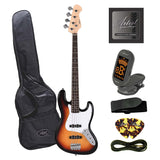 Artist JB2 Sunburst Electric Bass Guitar Plus Accessories
