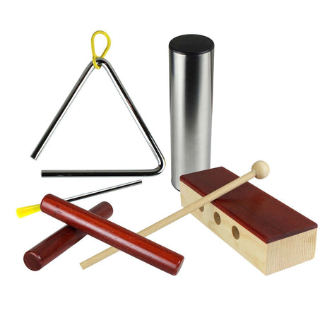 Artist Percussion Pack - Claves, Triangle, Wood Block and Shaker