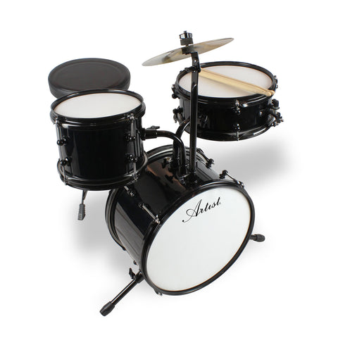 Artist AJ313 3-Piece Mini Acoustic Drum Kit - Black