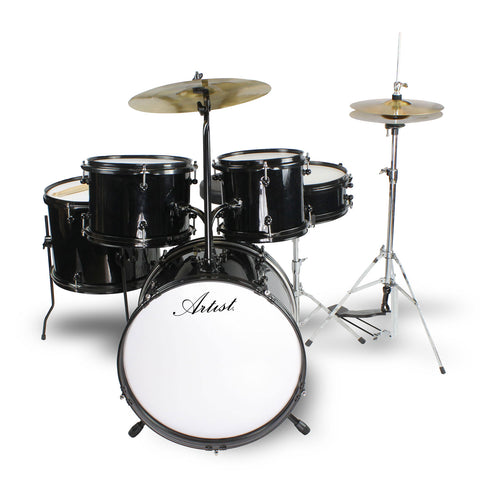 Artist AJ516 5 Piece Junior Acoustic Drum Kit - Black